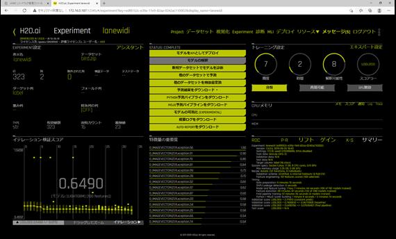 EXPERIMENT処理がモデルデータ完了後の画面